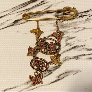 Vintage Gold Colour Butterfly Safety Pin Brooch